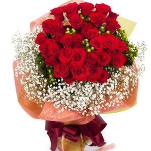 꽃다발 장미와 안개꽃