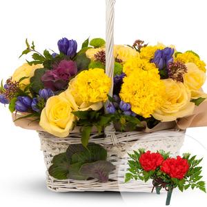 노랑혼합꽃바구니
